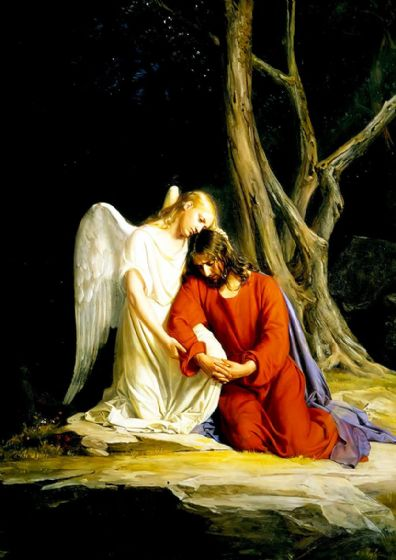 Bloch, Carl Heinrich: Angel with Jesus Before Arrest in Garden of Gethsemane. Print/Poster (5149)